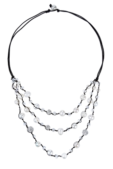 Multi Strand White Pearl Short Necklaces N3035