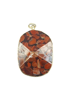 Red Textured Red Stone Statement Pendants P0073