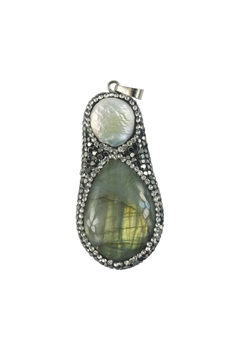 Green Agate Stone Statement Pendants with Pearl Pendants P0083