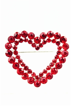 Crystal Heart Outline Brooch PA3086