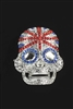 Crystal Accent Union Jack Skull Brooch PA3138