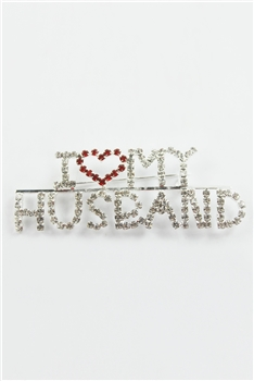 Crystal Accent I LOVE HUSBAND Brooch PA3154