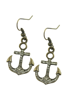 Crystal Accent Anchor Drop Earrings E1630