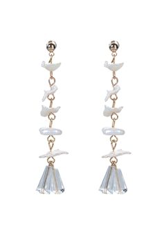 Elegant Delicate Gravel Pearls Crystal Long Earrings E2093