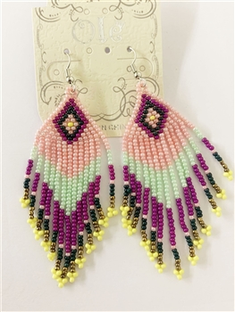 Long Tassel Crystal Bead Earrings E2110