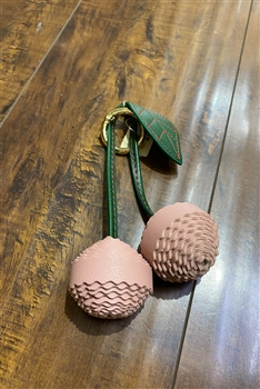 New Design Leather Cute Pu leather Ball Plush Cherry Keychain K1100