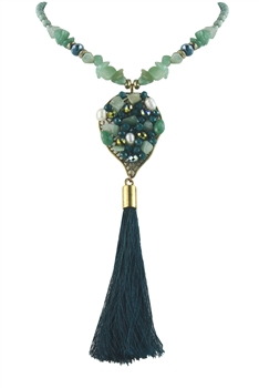 New Fashion Long Chain Tassel Crystal Stone Necklaces N2959