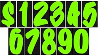 7½ Inch Chartreuse Designer Numbers