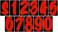 7½ Fire Red Designer Numbers
