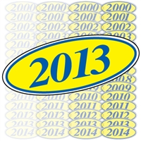 Blue and Yellow Oval Year Sign