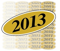 Black and Gold Oval Year Sign