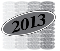 Black and Silver Oval Year Sign