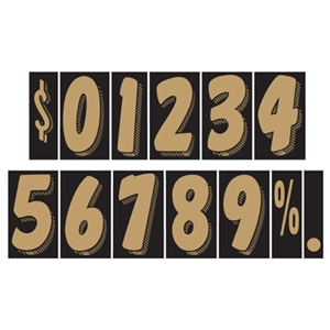 7½ Inch Gold and Black Numbers