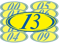 Blue And Yellow Two Digit Oval Sign