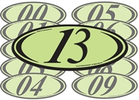 Chartreuse and Black Two Digit Oval Year Sign