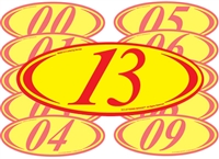 Red and Yellow Two Digit Oval Year Sign