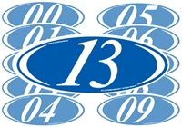 White and Blue Two Digit Oval Year Sign