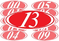 White and Red Two Digit Oval Year Sign