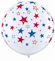 3ft Red & Blue Star Balloon