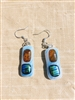 Blue, Amber and Green Dichroic Earrings