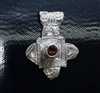 Unique One of a kind Fine Silver Pendant w/Red CZ