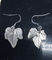 Fine Silver Grape Leaf Earrings