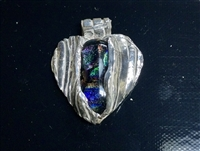 Fine Silver Heart with Dichroic Cabochon