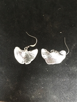 Fine Silver PMC Gingko Leaf Earrings
