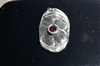 Silver Flower plus Red Cubic Zirconia Pendant
