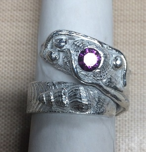 Size 101/2 Sterling Silver Crossover Ring with Amethyst CZ
