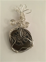 Sterling Silver Wire Wrapped Ammonite Cabochon