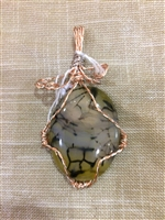 Silver and Copper Wire wrapped Dragon veins agate