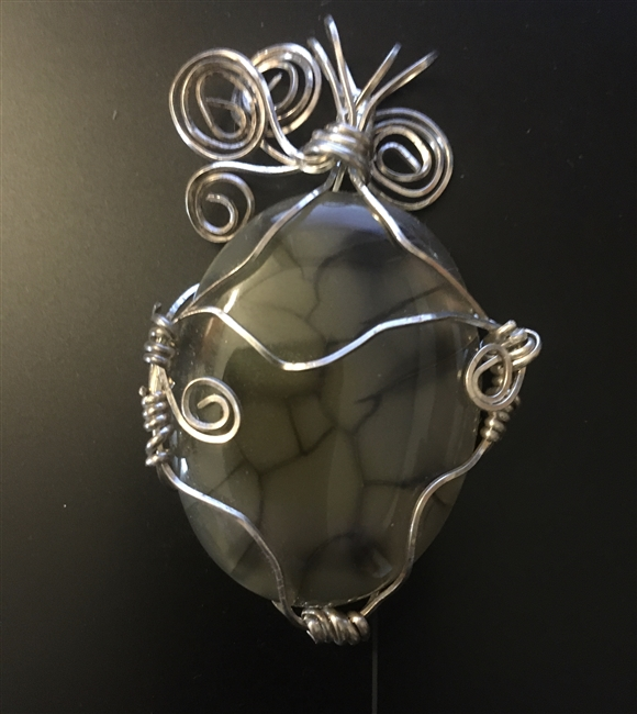 Wire Wrapped Yellowish Dragon Veins Agate