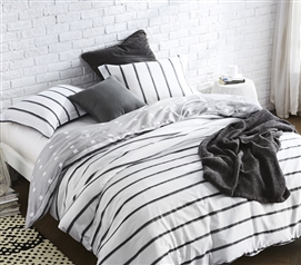 Twin XL Duvet Cover White College Dorm Bedding Black Ink