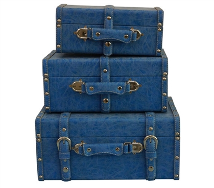 College-Ave Mini-Trunks (Set of 3) - Distressed Blue Mini Dorm Trunks Dorm Room Decor Dorm Storage Solutions