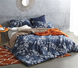 Twin XL Comforter Moxie Vines Navy College Bedding