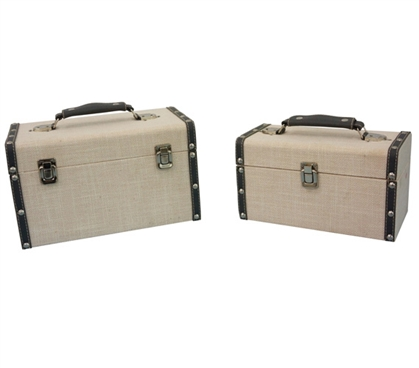 Sand Gray Texture Mini-Trunks (Set of 2) - Block Style Dorm Essentials Dorm Trunks
