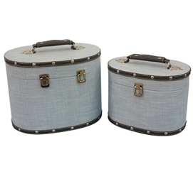 Bleached Aqua Texture Mini-Trunks (Set of 2) - Rounded Style Dorm Trunks Dorm Storage Solutions
