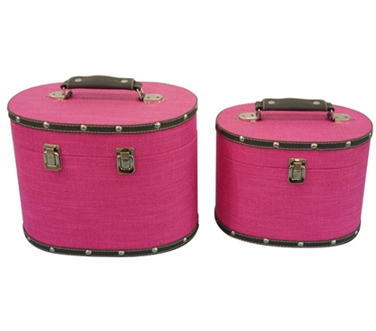Fuchsia Pink Texture Mini-Trunks (Set of 2) - Rounded Style Dorm Trunks Dorm Storage Solutions