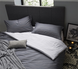 Gray Twin XL Duvet Cover College Dorm Bedding Fracture Lines Design
