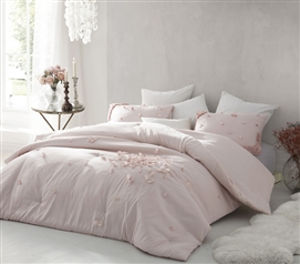 Petals Handsewn Twin XL Comforter - Soft Ice Pink