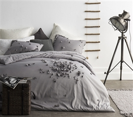 Beautiful Petals Handsewn Extra Long Twin Duvet Cover Stylish Gray College Bedding