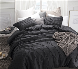 Stylish Extra Long Twin Bedding Essential Black Dorm Room Duvet Cover Twist Texture