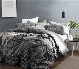 Knots - Handcrafted Texture Ties Twin XL Duvet Cover - Dark Gray