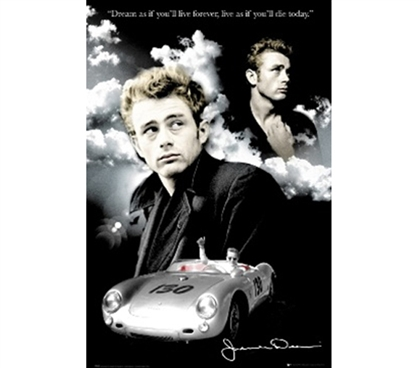 James Dean - Clouds & Car Poster