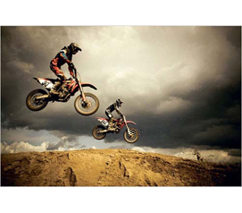 College Dorm Decor - Motorcross Dirtbike Flying Across Jump - Cheap Wall Poster