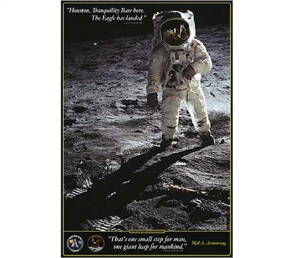 Motivating Wall Poster - The First Steps On The Moon - Poster