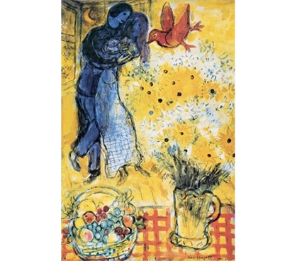 French Riviera Style - Les Amoureux aux Marguerites - Chagall Poster