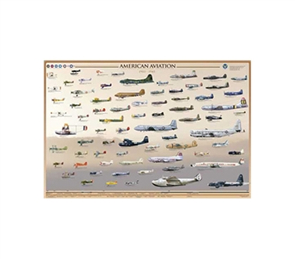 American Aircraft Collage - U.S. Aviation Posters. Great Dorm Room Decorating Ideas for Aviation Enthusiasts.