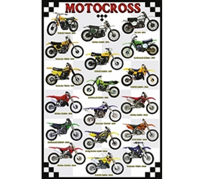 Motocross Poster of Awesome Dirt Bikes for College Guys